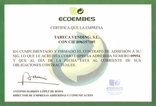 certificado de calidad ecoembes Tareca