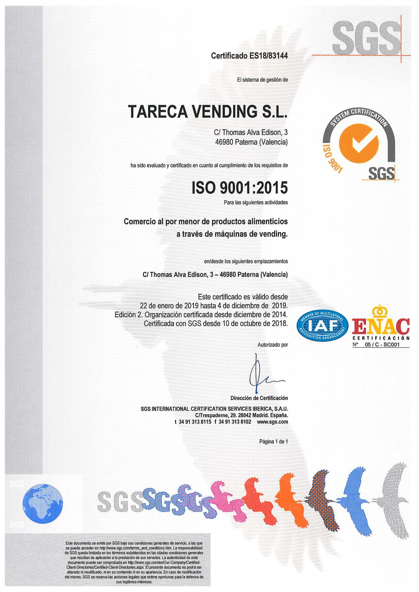 Certificado de calidad iso 9001 tareca vending